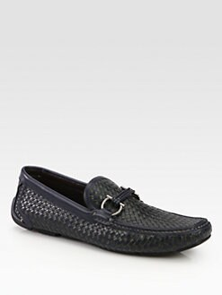 Salvatore Ferragamo - Barbados Tri-Color Woven Driver Slip-Ons