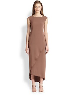 Brunello Cucinelli - Silk Crepe Asymmetrical-Overlay Dress