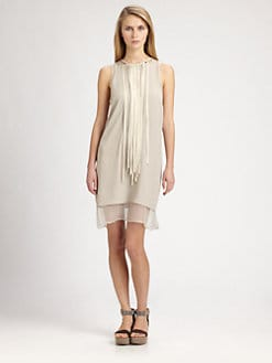 Brunello Cucinelli - Leather Necklace Silk Dress