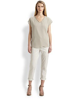 Brunello Cucinelli - Silk V-Neck Top