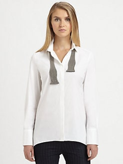 Brunello Cucinelli - Monili Bow Tie Blouse
