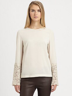 Brunello Cucinelli - Lace-Trimmed Silk Blouse
