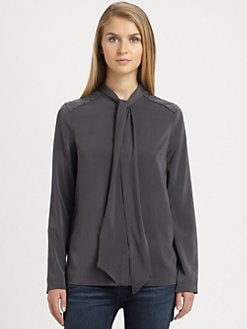 Brunello Cucinelli - Studded Silk Tie Blouse