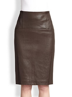 Brunello Cucinelli - Leather & Wool Pencil Skirt