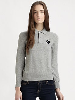 Comme des Garcons Play - Wool Heart Polo Sweater
