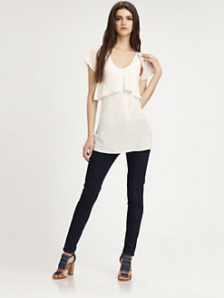 T by Alexander Wang - Silk Flutter-Sleeve Ruffle Top