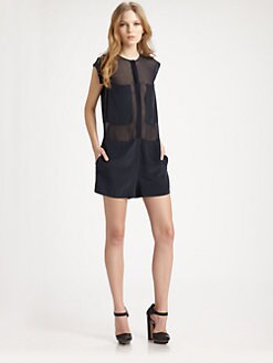 T by Alexander Wang - Semi-Sheer Silk Jumpsuit