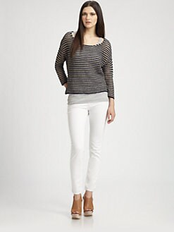 360 Sweater - Striped Semi-Sheer Boatneck Sweater