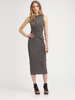 T by Alexander Wang - Marled Asymmetrically Draped Dress