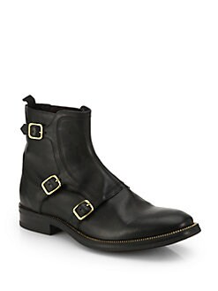 Alexander McQueen - Three-Buckle Leather Ankle Boots