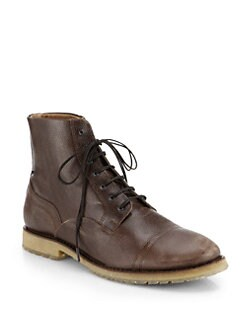 Diesel - Pure Leather High-Top Lace-Up Boots