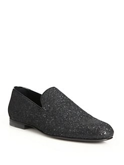 Jimmy Choo - Sloane Glitter Slip-On Loafers