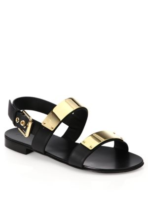 Metal Bar Leather Sandals