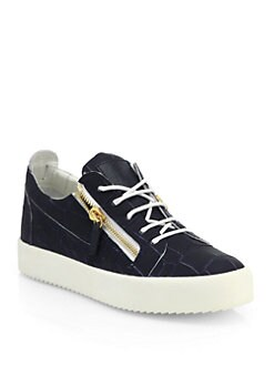 Giuseppe Zanotti - Leather Croc-Embossed Low-Top Sneakers