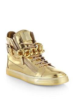 Giuseppe Zanotti - Metallic Leather Chain High-Top Sneakers