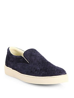 Bottega Veneta - Woven Suede Slip-On Sneakers