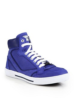 Versace Collection - Leather High-Top Sneakers