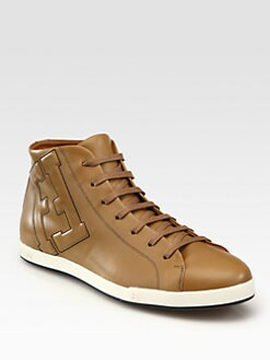 Fendi - Leather Lace-Up Sneakers