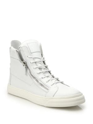 Double-Zip Leather High-Top Sneakers