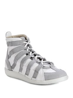 Maison Martin Margiela - Leather and Suede High-Top Sneakers