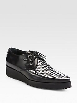 DSQUARED - Woven Leather Lace-Ups