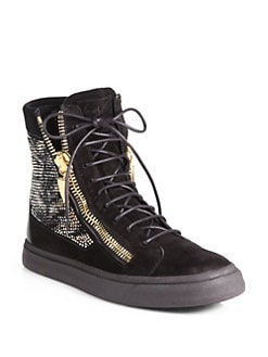 Giuseppe Zanotti - Crystallized High-Top Sneakers