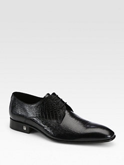 Versace Collection - Croc-Embossed Leather Lace-Ups