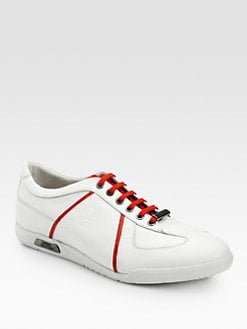 Versace Collection - Leather Lace-Up Sneakers