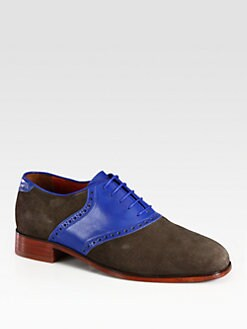 Florsheim By Duckie Brown - Two-Tone Lace-Up Suede and Leather Oxfords