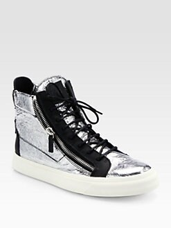 Giuseppe Zanotti - Crackle Foil High-Top Sneakers