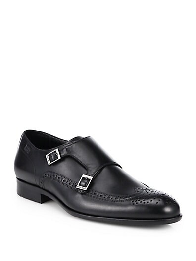Brossio Double Monk Strap Leather Dress Shoes