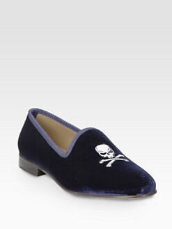 Del Toro - Velvet Skull Slipper Shoe