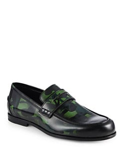 Jimmy Choo - Printed Patent Leather Loafers