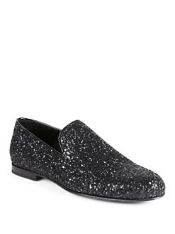 Jimmy Choo - Coarse Glitter Slippers