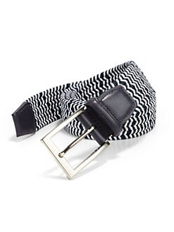 Saks Fifth Avenue Collection - Two-Toned Elastic & Leather Belt