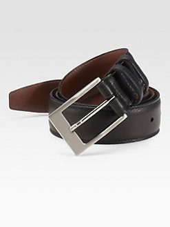Saks Fifth Avenue Men's Collection - Calfskin Leather Belt/Black