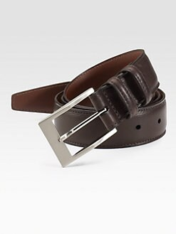 Saks Fifth Avenue Men's Collection - Deertan Glove Leather Belt/Brown