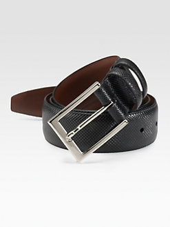 Saks Fifth Avenue Men's Collection - Deertan Glove Leather Belt/Black