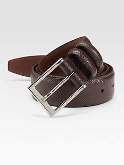 Saks Fifth Avenue Men's Collection - Calfskin Leather Belt/Brown