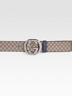 Gucci - GG PU Stars Fabric Belt