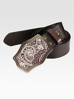 Robert Graham - Tapestry Paisley-Buckle Leather Belt