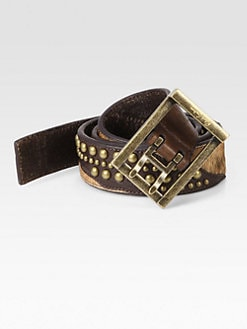 Robert Graham - Shinnecock Calfhair-Paneled Leather Belt