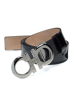 Salvatore Ferragamo - Double Gancini Patent Leather Belt