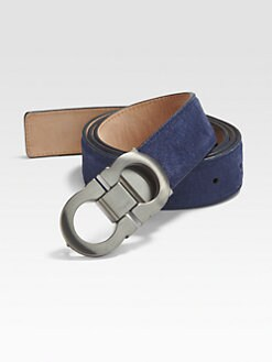 Salvatore Ferragamo - Double Gancini Adjustable Suede Belt