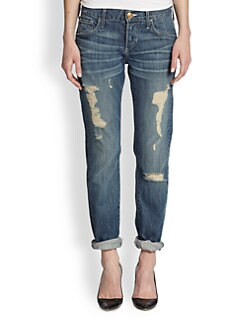 True Religion - Audrey Distressed Slim Boyfriend Jeans