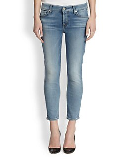 7 For All Mankind - Contour-Waistband Cropped Skinny Jeans