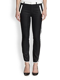7 For All Mankind - Sportif Cropped Two-Tone Skinny Pants