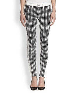 7 For All Mankind - Contrast-Trimmed Geometric Jacquard Skinny Jeans