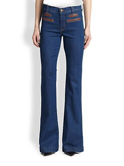 7 For All Mankind - Leather-Trimmed Flared Jeans