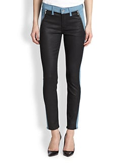 7 For All Mankind - Coated Paneled Skinny Jeans